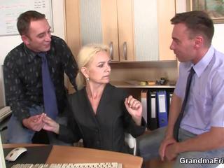 Skinny Blonde Old Grandma Swallows Two Cocks: Free Porn 02