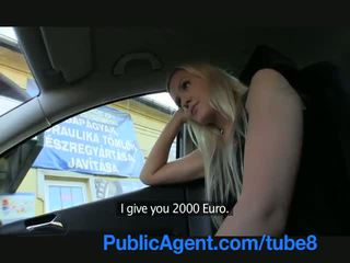 Publicagent longo haired sexy loira em fodido outdoors por um stranger
