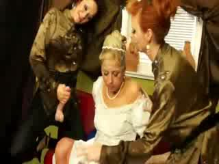 Bride gets her dress soaked in bukkake by hot babes