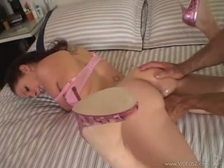 Gianna Michaels gets a huge cock rammed down her throat while she sucks hard