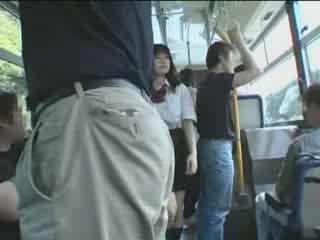 japanisch, schülerin, bus