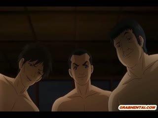 Rondborstig anime studente brutally gangbanged en cummed allbody