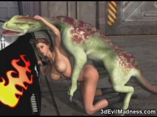 3d cô gái impaled qua người ngoài hành tinh dragon