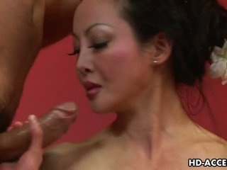 shaved pussy, big tits, mature, asian