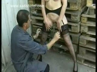 Hot naked slave with big tits gets cla...