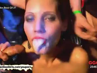Two babes have fun with cocks and jizz