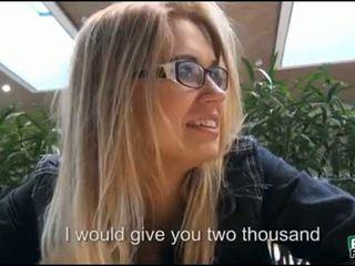Blonde woman having sex in public for cash