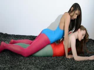 Hairy lezzies in nylon pants loving