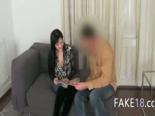 Fake agent having sex with breasts girl