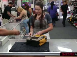 Cute college student comes back to pawn her book and body to the owner