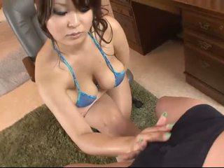 Hot asia in blue bikini blows a jago