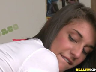 Longhaired schoolgirl Mischa Brooks ge...