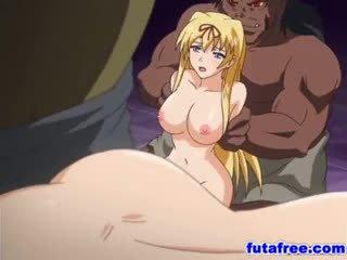 Blond futagirl gets sie holes pumped