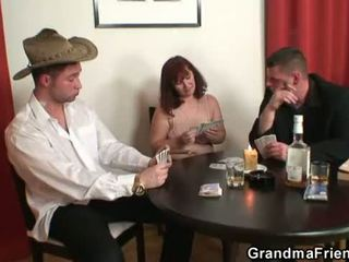 Granny plays strip poker then gets double .