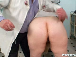 Horny blonde mature lady at gyno exam