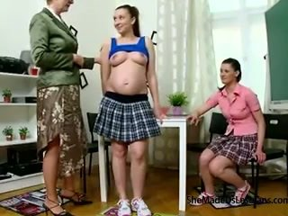 Pregnant student and her friend get taught lesbian games by their naughty old teacher