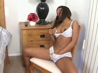 Black girl fucked and cummed on tits by white guy