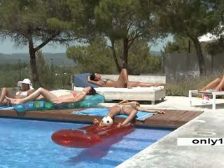 Pool Party 5 young beautiful Lesbians Video