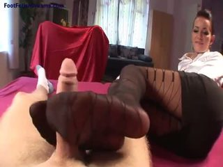 Black pantyhose footjobs