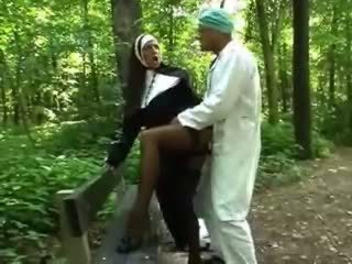 Turned on blonde nun getting fucked doggy style