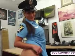 Sexy latina female security officer gets pursuaded to pawn her body