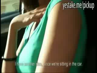 Big Boob Babe shows Pussy in car and is fucked in a parkinggarage