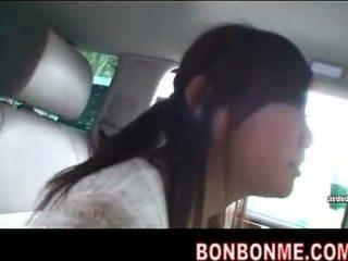 Mosaic; cute jap girl oral blowjob in car