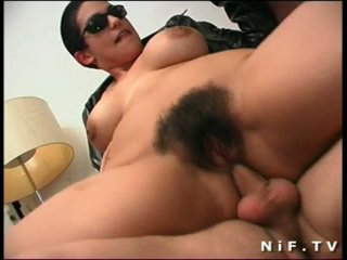 Hairy french slut gets double anal penetration