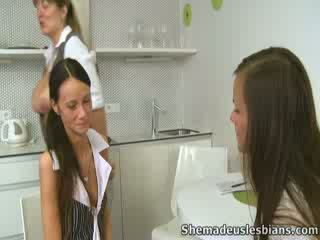 Babe Dinara and her girlfriend please lustful aged lady.