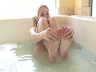 Alanna stunning blonde babe playing with herself in the tub
