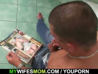 Busty Mom And Son-In-Law Caught In Bathroom