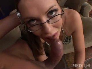 Cum gargling brunette with glasses