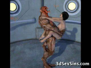 Creatures jāšanās 3d scifi babes!