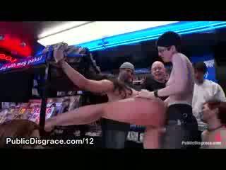 Big Titty bound doll strapon vibrator fucked in porn store