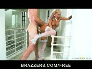 Big-tit blonde pornstar Devon rides a big-dick for practice