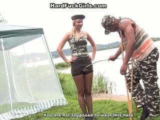 Leger chick banged outdoors