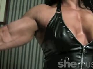 solo girl, muscular, shaved