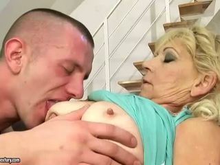 Sexy grandma fucking with her young lover