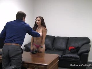 Backroom casting couch with hot brunette