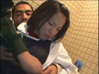 brunette, japanese, public