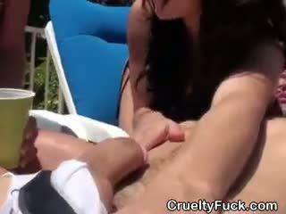 Amateur Girls Host Reverse Gangbang Outside By Pool
