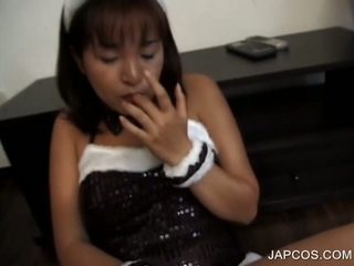 Japanese slut in bunny outfit rubbing horny cunt