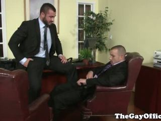 Gay office hunk getting throatfucked