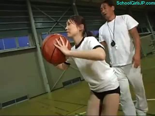 Schoolgirl In Training Dress Fingered By The Coach On The Basketball Training