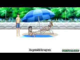 Zwemmen pak tekenfilm meisje oralsex en rijden bigcock in de strand