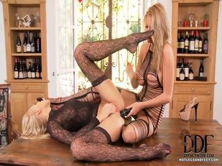 Teena Lipoldino And Danielle Maye Have A Passionate Clinch In An Elegant Dining Room And You Have To Watch! They Wear African Lace And Cut Out Teddies, Patterned Stockings, And Elegant High Heels.