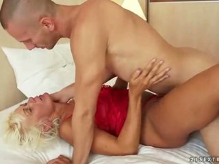 Hot granny having sex with her young lover