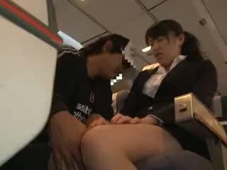 Pupytė moteris apgraibytas ir pakliuvom į a verslas airliner