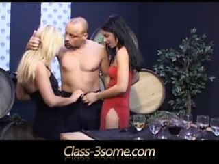 Black And Blonde Beauties Get Their Holes Tasted In Threesome