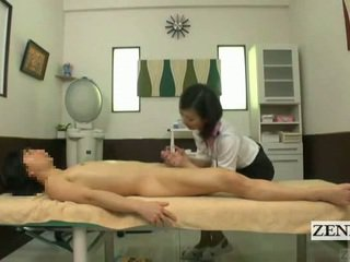 Subtitled cfnm japans massage met sensueel afrukken
